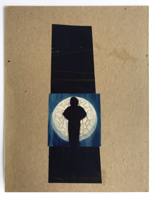A collage with the silhouette of a feminine form against the moon and a dark column.