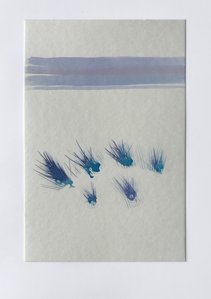 Painting in blue of tufts of grass with a horizon line.