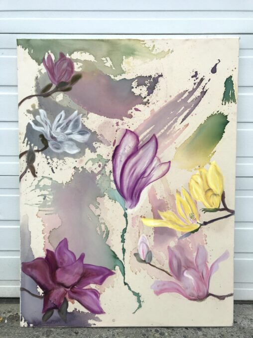 painting on canvas of six magnolias flowers against a multicoloured background.